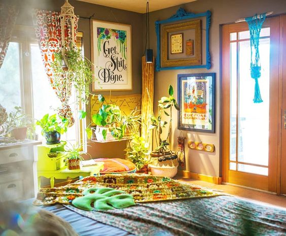 bohemian indoor garden idea