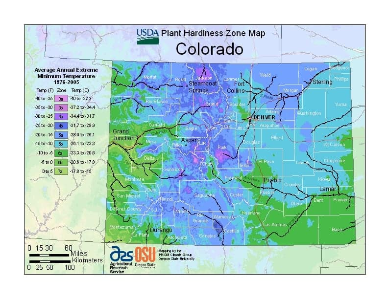 Colorado USDA Zone Map