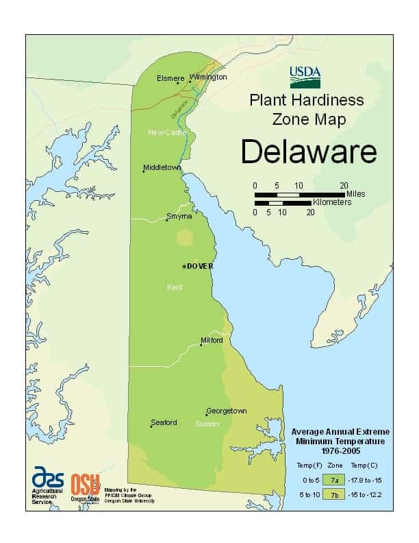 Delaware USDA Zone Map