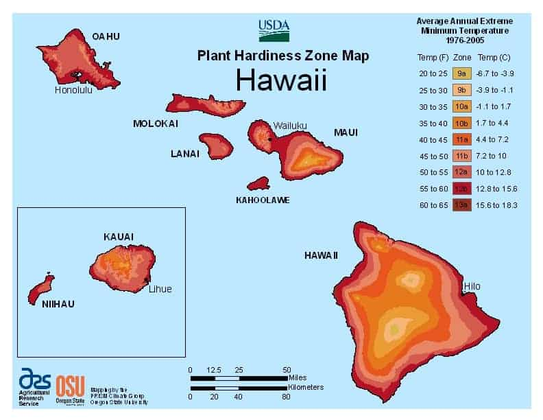 Hawaii USDA Zone Map
