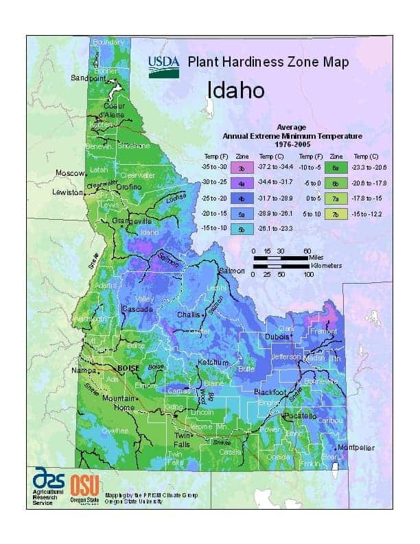 Idaho USDA Zone Map