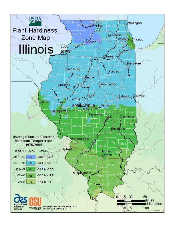 Illinois USDA Zone Map