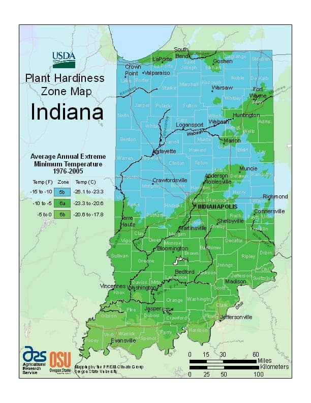 Indiana USDA Zone Map