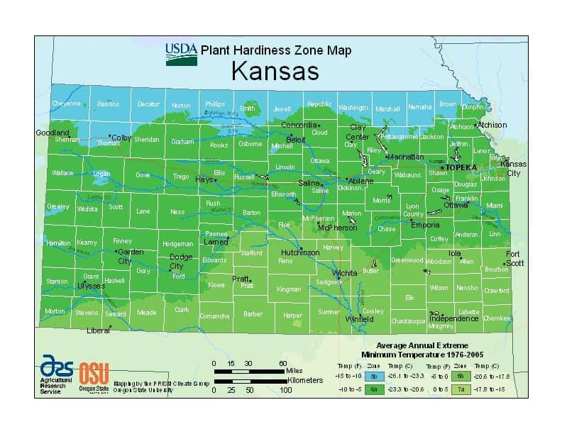 Kansas USDA Zone Map