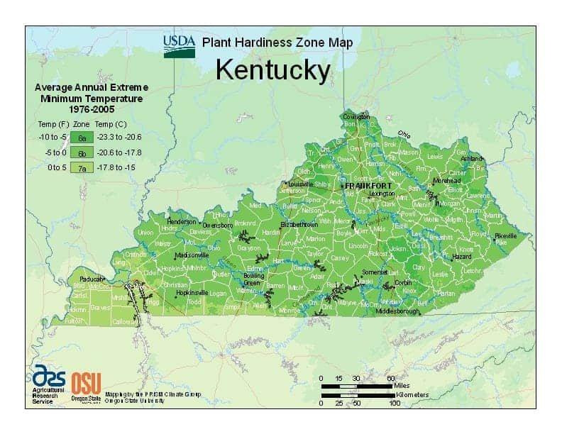 Kentucky USDA Zone Map
