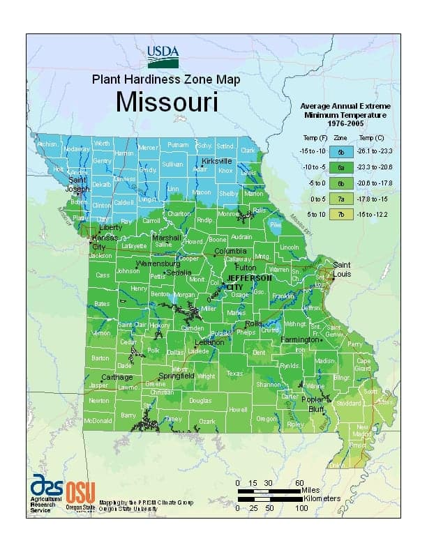 Missouri USDA Zone Map