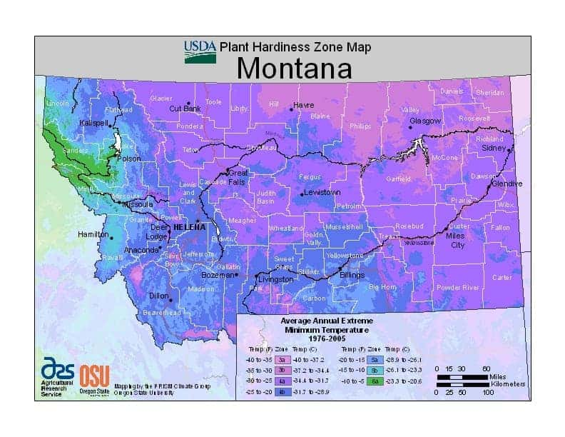 Montana USDA Zone Map