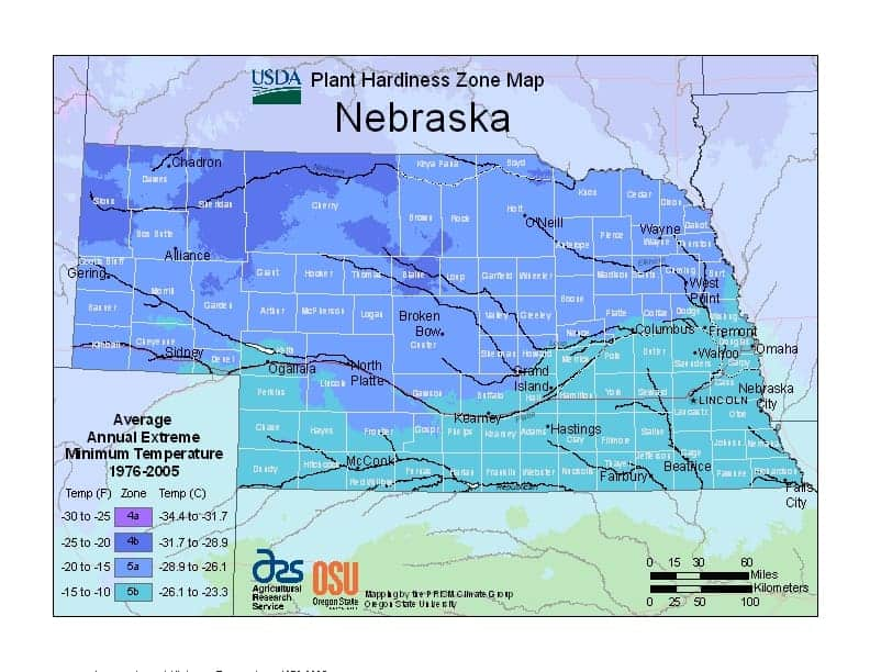 Nebraska USDA Zone Map