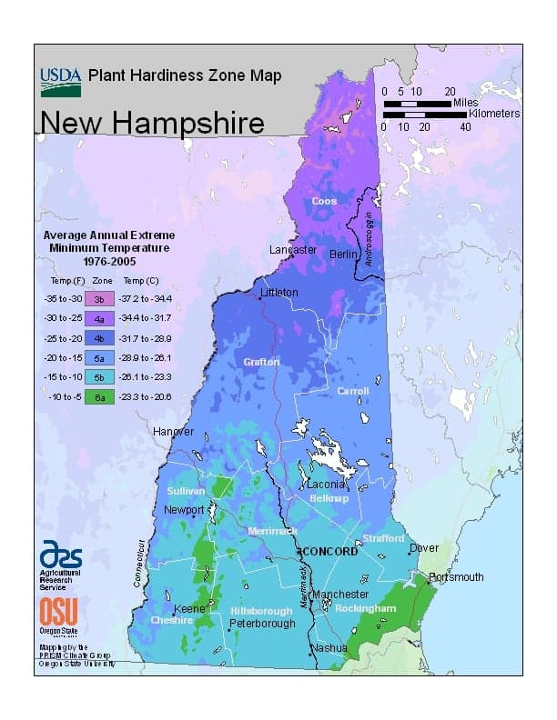 New Hampshire USDA Zone Map
