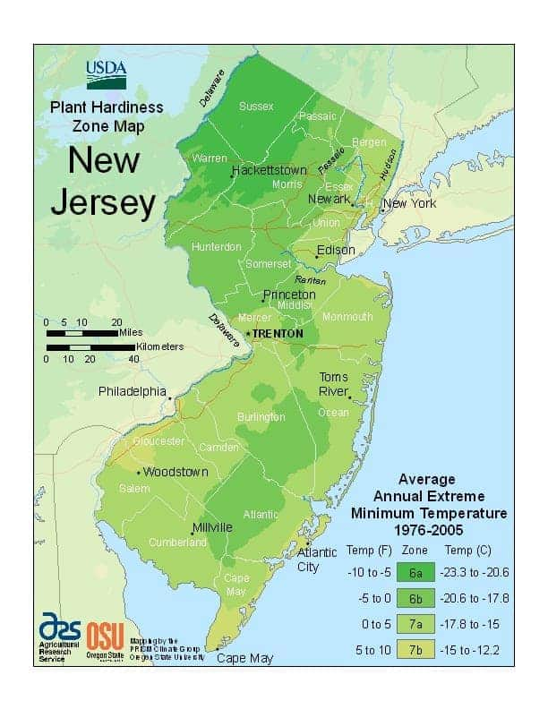 New Jersey USDA Zone Map