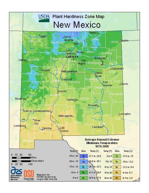 New Mexico USDA Zone Map