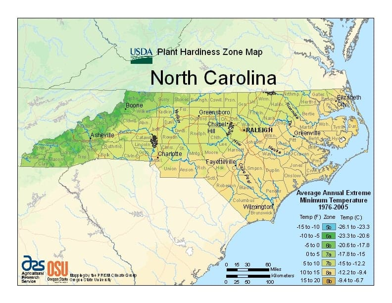 North Carolina USDA Zone Map
