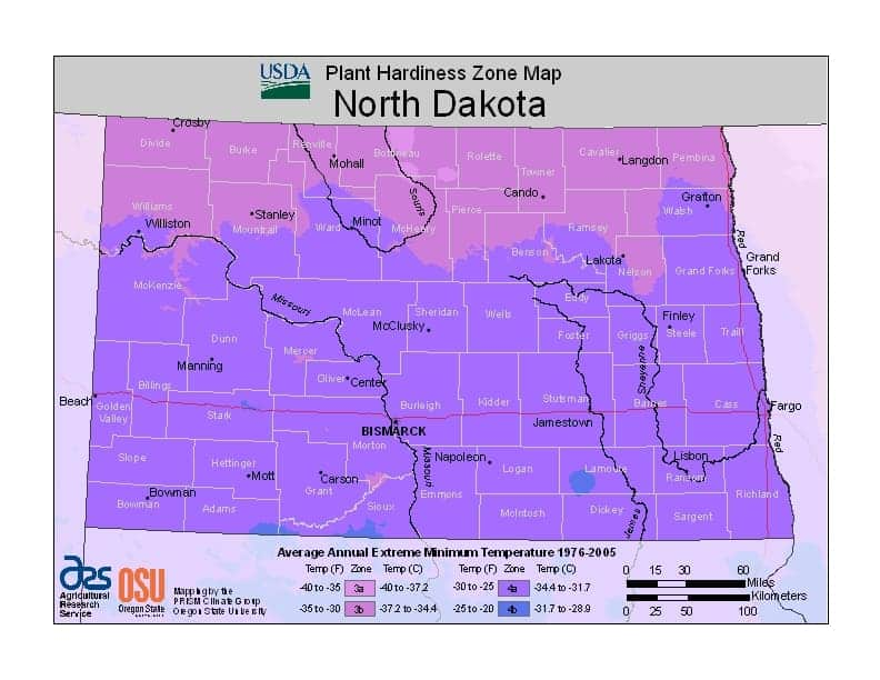 North Dakota USDA Zone Map