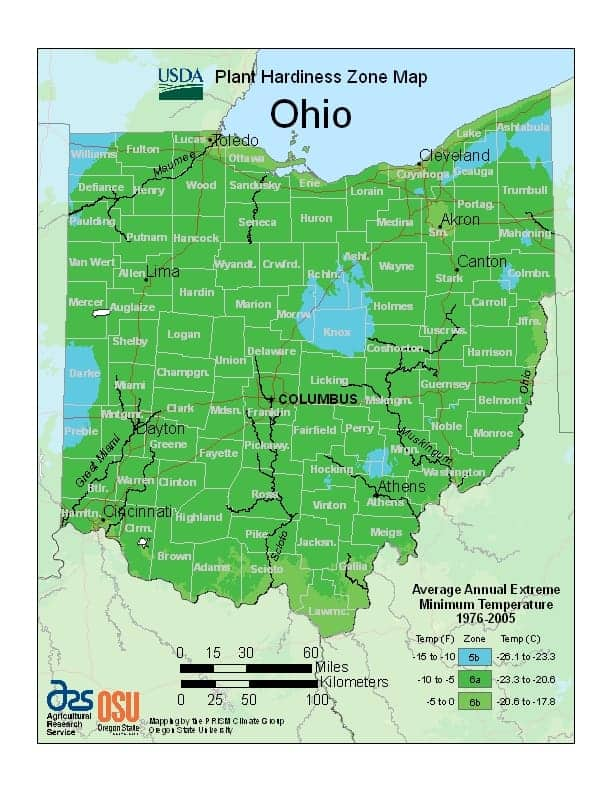 Ohio USDA Zone Map