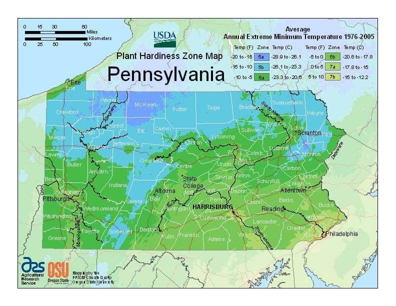 Pennsylvania USDA Zone Map