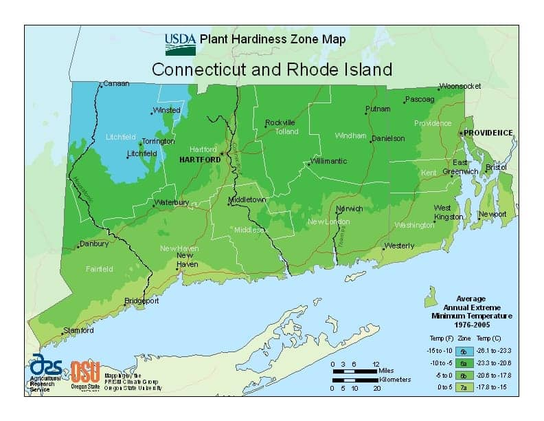 Rhode Island USDA Zone Map