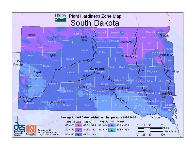 South Dakota USDA Zone Map