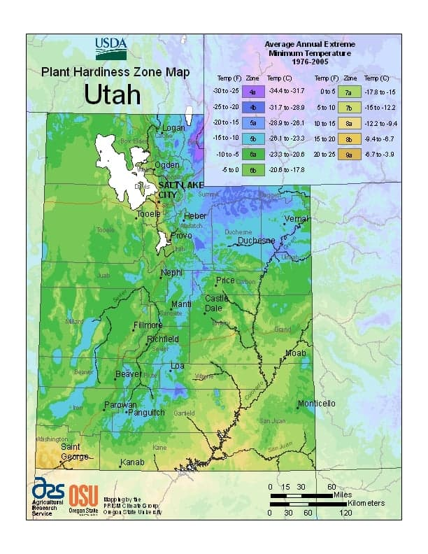 Utah USDA Zone Map
