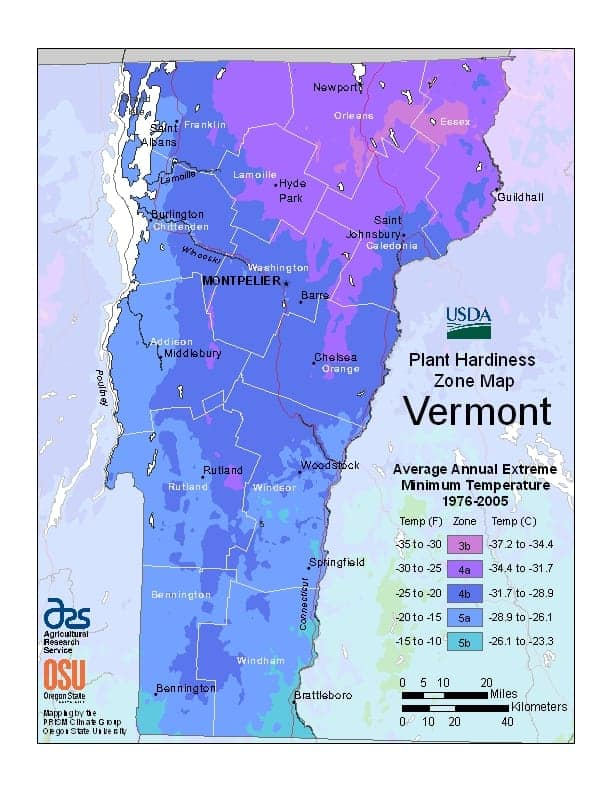 Vermont USDA Zone Map