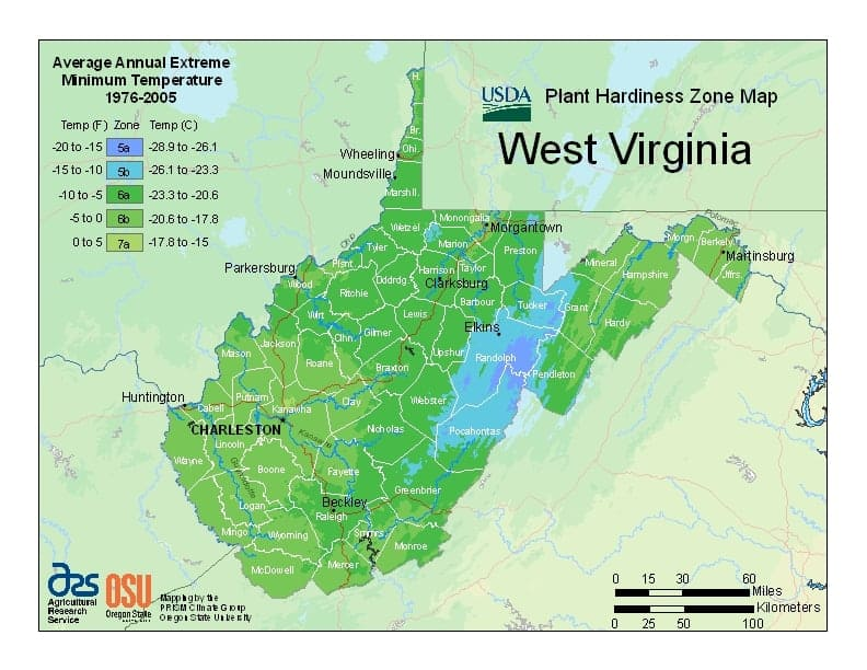 West Virginia USDA Zone Map