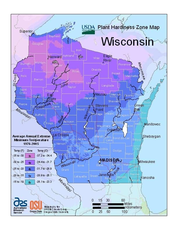 Wisconsin USDA Zone Map