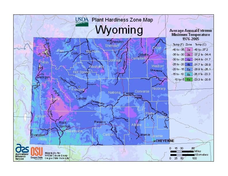Wyoming USDA Zone Map