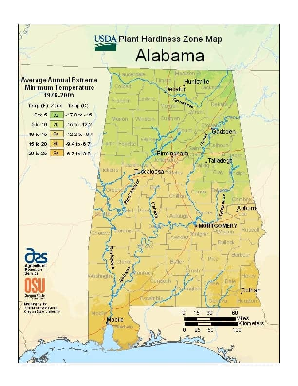 Alabama USDA Zone Map