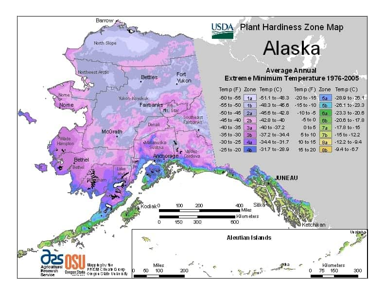 Alaska USDA Zone Map