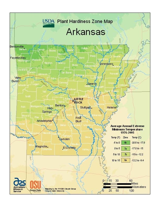 Arkansas USDA Zone Map