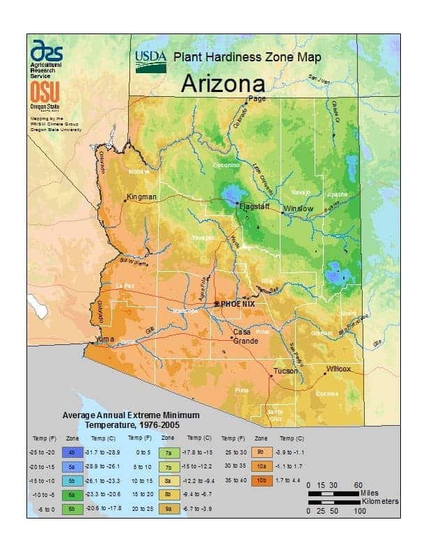 Arizona USDA Zone Map