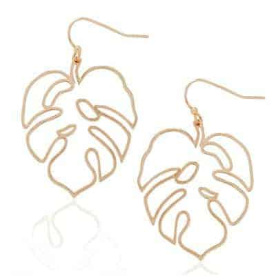 monstera leaves shaped earrings